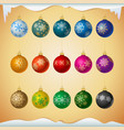 matt colored christmas balls with snowflakes vector image