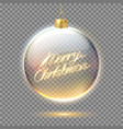 merry christmas lettering in tree ball vector image vector image