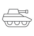military tank thin line icon war and army vector image