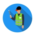 Parking attendant icon in flat style isolated on vector image