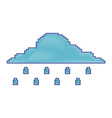 pixelated cloud rainy weather temperature vector image