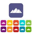 pyramids in giza icons set flat vector image vector image