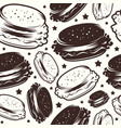 seamless pattern for burger restaurant vector image