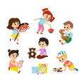 set of children play with toys vector image vector image