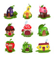 set of fantasy houses in form of eggplant pear vector image vector image