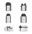 set white gift boxes with black bows and vector image