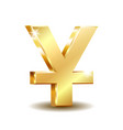shiny golden yuan currency symbol isolated on vector image