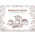 sketch coffee banner bean leaf ornament retro vector image vector image