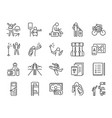 solo traveler line icon set vector image vector image