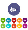 submarine navy icons set color vector image vector image