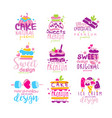 sweets logo original design set kids menu badges vector image vector image