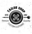 tailor shop emblem with clothes button vector image