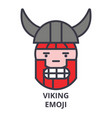viking emoji line icon sign vector image vector image