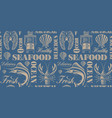 vintage seamless background for seafood theme vector image
