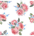 watercolor rose floral pattern vector image vector image