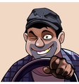 winking cartoon cheerful man driving vector image vector image