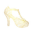 woman sandals or lady shoe golden ornament vector image