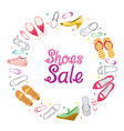 womens shoes sale on circle frame vector image vector image