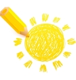 Yellow cartoon pencil with doodle sun vector image vector image