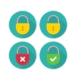 Yellow lock icon set vector image vector image