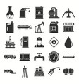 oil gas industry black silhouette icons set with vector image