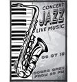 retro poster with saxophone and piano for jazz vector image