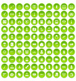 100 war icons set green vector image vector image