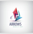 3d colorful shiny crystal 2 arrows logo vector image vector image