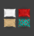 3d realistic bright pillows template mock vector image vector image