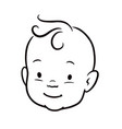 baby face black and white simple line cartoon vector image vector image