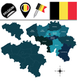 Belgium map with named divisions vector image vector image