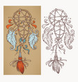 boho chic hand drawn shaman doodle background for vector image