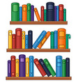 bookshelf with colorful books vector image