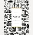 breakfast vintage flyer design morning food and vector image