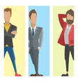 business people man cards full length professional vector image vector image