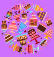 cake shop round round pattern vector image vector image