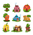 cartoon set of fairy-tale houses in various shapes vector image vector image