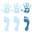 color with footprint and handprint vector image vector image