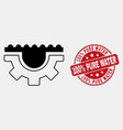 contour water gear icon and grunge 100 vector image vector image