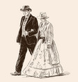 couple in the vintage costumes vector image vector image
