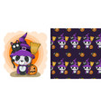 Cute halloween cartoon panda with pumpkin on a