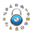 data security concept and blue combination padlock vector image vector image