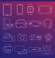 digital devices white line icons isolated set vector image