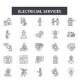 electricial services line icons signs set vector image