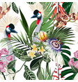 exotic birds passion flowers monstera palm pattern vector image vector image