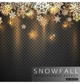 Falling snowflakes on transparent background Gold vector image
