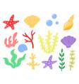 flat doodle cute cartoon summer sea ocean set vector image