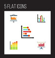 flat icon chart set of statistic diagram vector image vector image