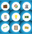 flat icon incoming set of growth bubl billfold vector image vector image