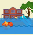 flood realistic natural disaster vector image vector image